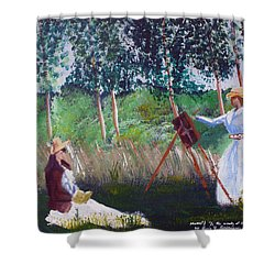 In The Woods At Giverny Shower Curtain by Luis F Rodriguez