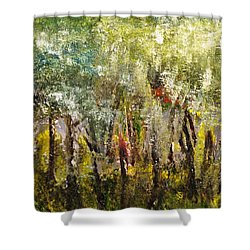 Shower Curtain featuring the painting In The Woods by Evelina Popilian