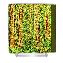 Shower Curtain featuring the digital art In The Woods - Forest Trees Vashon Island Washington by Joel Bruce Wallach