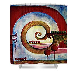 Shower Curtain featuring the painting In The World Of Balance by Anna Ewa Miarczynska