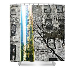 Shower Curtain featuring the mixed media Inbetween  by Tony Rubino