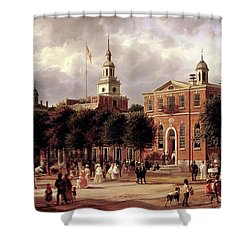 Shower Curtain featuring the painting Independence Hall by Ferdinand Richardt