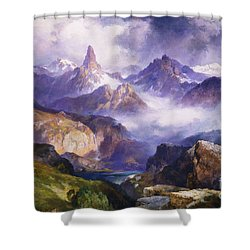 Index Peak Yellowstone National Park Shower Curtain by Thomas Moran