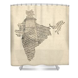 India Map, Old Sheet Music Map Of India Shower Curtain