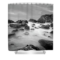 Indian Beach, Ecola State Park, Oregon, In Black And White Shower Curtain
