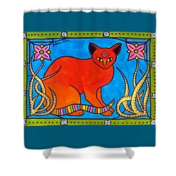 Indian Cat With Lilies Shower Curtain by Dora Hathazi Mendes