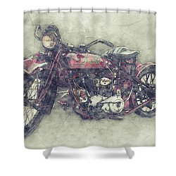Indian Chief 1 - 1922 - Vintage Motorcycle Poster - Automotive Art Shower Curtain