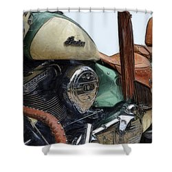 Indian Chief Vintage L Shower Curtain by Michelle Calkins