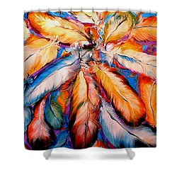 Indian Feathers 2006 Shower Curtain by Marcia Baldwin