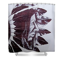 Indian Feathers Shower Curtain by Michael  TMAD Finney