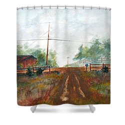 Shower Curtain featuring the painting Indian Hills by Andrew Gillette