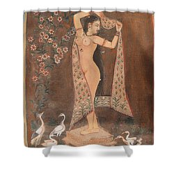 Indian Lady After Swim Shower Curtain