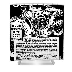 Shower Curtain featuring the digital art Indian Power Plus Motocycle Ad 1916 by Daniel Hagerman