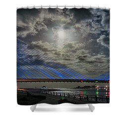 Indian River Bridge Moonlight Panorama Shower Curtain