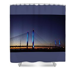 Shower Curtain featuring the photograph Indian River Inlet Bridge by Ed Sweeney