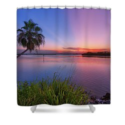 Indian River State Park Bursting Sunset Shower Curtain by Justin Kelefas