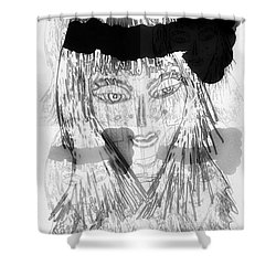 Shower Curtain featuring the mixed media Indian by Ann Calvo