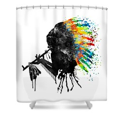 Indian Silhouette With Colorful Headdress Shower Curtain