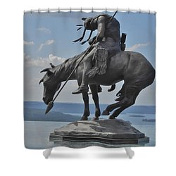 Indian Statue Infinity Pool Shower Curtain
