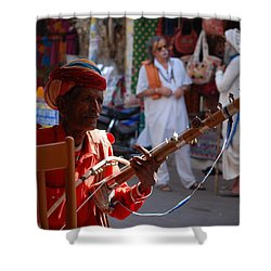 Indian Street Musician Shower Curtain