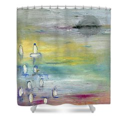 Shower Curtain featuring the painting Indian Summer Over The Pond by Michal Mitak Mahgerefteh