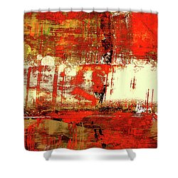 Indian Summer - Red Contemporary Abstract Shower Curtain