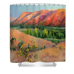 Shower Curtain featuring the painting Indian Hill by Steve Henderson