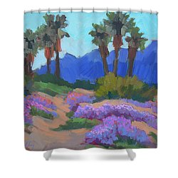 Shower Curtain featuring the painting Indian Wells Verbena by Diane McClary