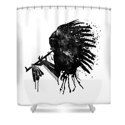 Shower Curtain featuring the mixed media Indian With Headdress Black And White Silhouette by Marian Voicu
