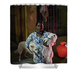 Shower Curtain featuring the photograph Indian Woman And Her Dogs by Mike Reid