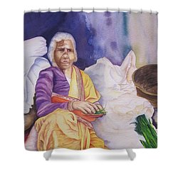 Indian Woman At Market IIi Shower Curtain