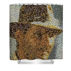 Shower Curtain featuring the mixed media Indiana Jones Treasure Coins Mosaic by Paul Van Scott