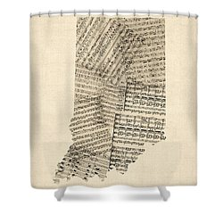 Indiana Map, Old Sheet Music Map Shower Curtain