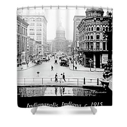 Indianapolis, Indiana, Downtown Area, C. 1915, Vintage Photograp Shower Curtain