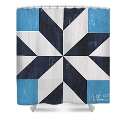Shower Curtain featuring the painting Indigo And Blue Quilt by Debbie DeWitt