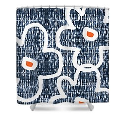 Shower Curtain featuring the mixed media Indigo And White Jumbo Flowers- Art By Linda Woods by Linda Woods