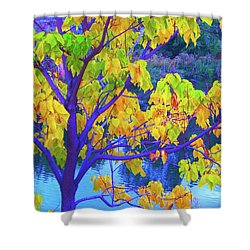 Indigo Autumn Shower Curtain