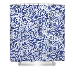 Indigo Batik Leaves Medium Shower Curtain