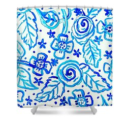 Indigo Blooms Shower Curtain