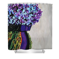 Indigo Flowers For Ma Shower Curtain by Esther Newman-Cohen