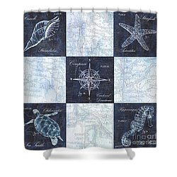 Indigo Nautical Collage Shower Curtain by Debbie DeWitt