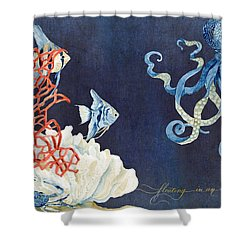 Indigo Ocean - Floating Octopus Shower Curtain