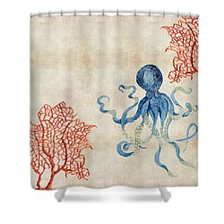 Indigo Ocean - Octopus Floating Amid Red Fan Coral Shower Curtain