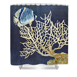 Indigo Ocean - Tan Fan Coral N Angelfish Shower Curtain