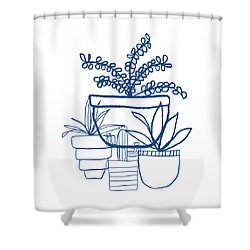 Shower Curtain featuring the mixed media Indigo Potted Succulents- Art By Linda Woods by Linda Woods