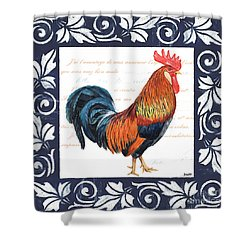 Indigo Rooster 1 Shower Curtain by Debbie DeWitt