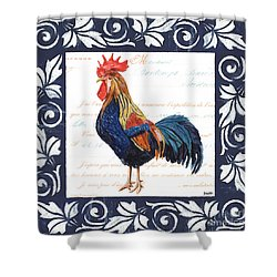 Indigo Rooster 2 Shower Curtain