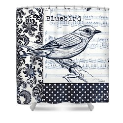 Indigo Vintage Songbird 1 Shower Curtain