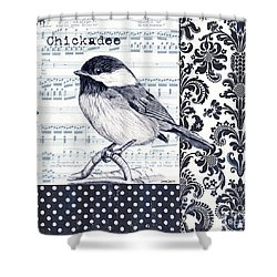Indigo Vintage Songbird 2 Shower Curtain by Debbie DeWitt