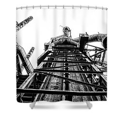 Industrial Age - Bethlehem Steel In Black And White Shower Curtain by Bill Cannon